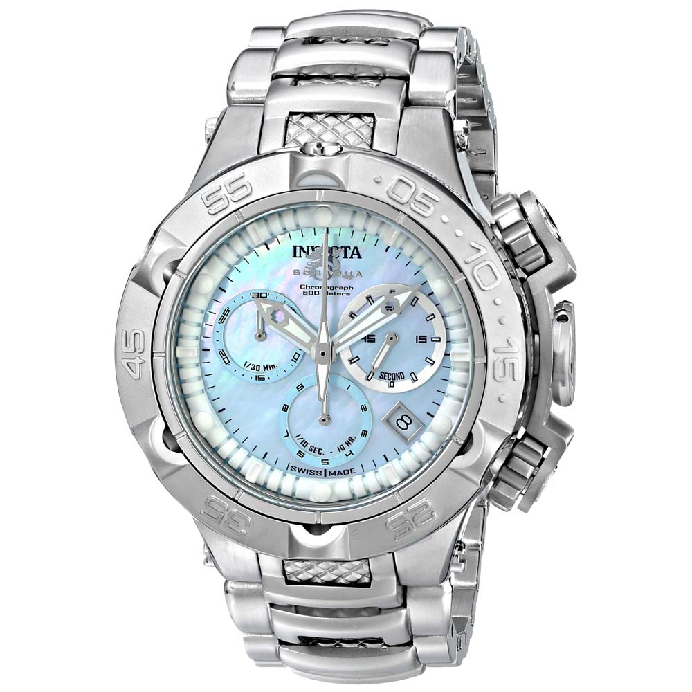 Invicta 17221 lady 39 s steel bracelet blue mop dial chrono watch watch gnome for Pearl watches